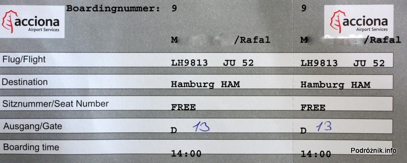 Junkers Ju52/3m - D-AQUI - D-CDLH - karta pokładowa (boarding pass)