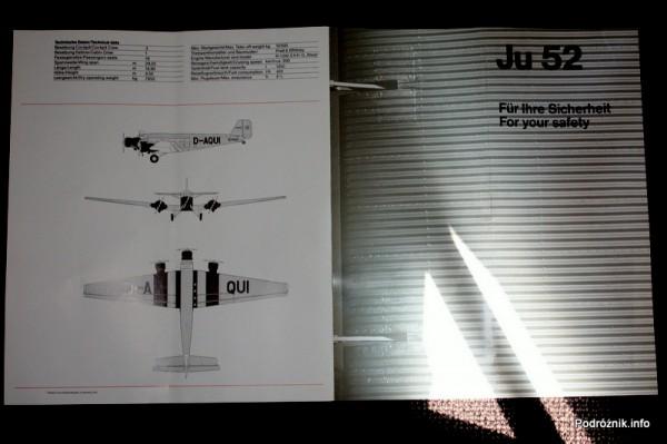 Junkers Ju52/3m - D-AQUI - D-CDLH - safety card - dane samolotu
