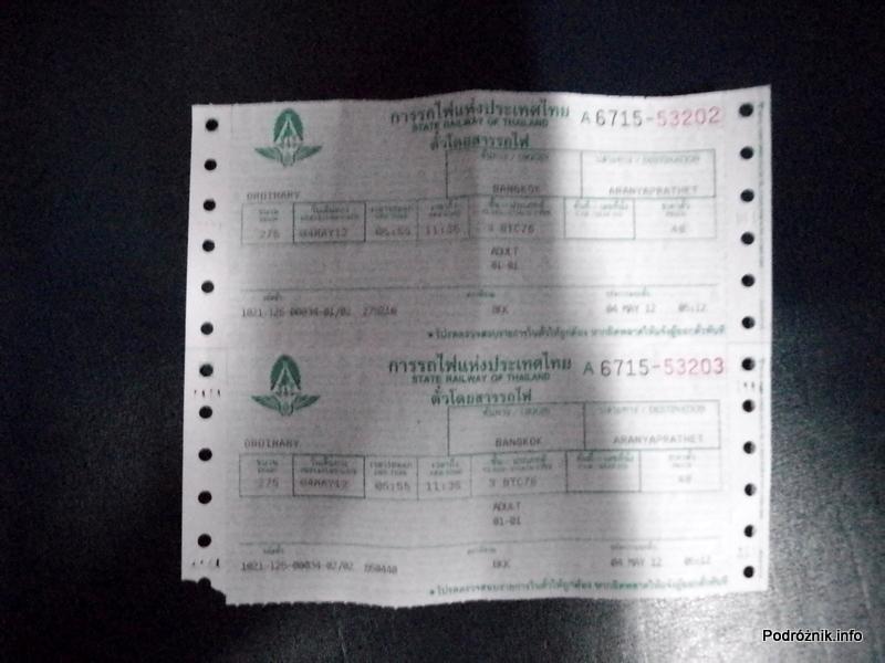 Tajlandia - maj 2012 - bilet Bangkok-Aranyaprathet