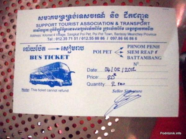 Kambodża - Poipet - maj 2012 - bilet na busa z Poipet do Siem Reap