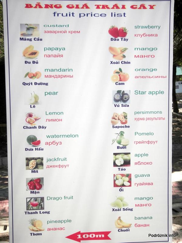 Wietnam - Nha Trang - maj 2012 - Diamond Bay Resort & Spa - zdjęcia owoców i ich angielskie nazwy