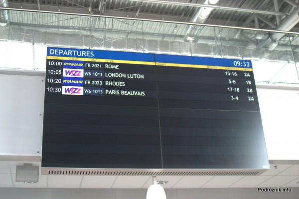 Lotnisko Modlin - tablica odlotów