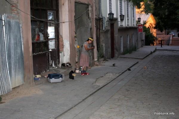 Gruzja - Tbilisi - sierpień 2012 - kobieta karmiąca psy i koty