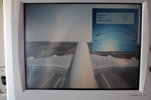 Air France - Airbus 380 - AF1980 - F-HPJB - widok z kamery na ogonie podczas startu i planowana trasa