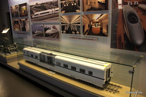 Chiny - Pekin - Muzeum Kolejnictwa - makieta wagonu kolei wielkich prędkości - kwiecień 2013
