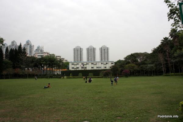 Chiny - Shenzhen - park przy stacji metra Tongxinling - trzy wieżowce na tle wielkiego trawnika - kwiecień 2013