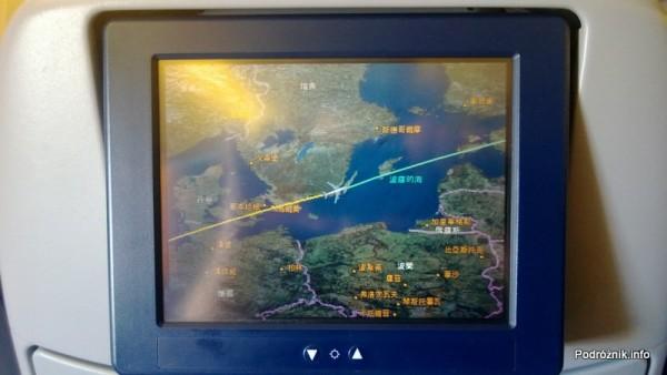 KLM Royal Dutch Airlines - Boeing 747-400 Combi - KL897 - PH-BFW - fragment planowanej trasy przelotu z napisami po chińsku