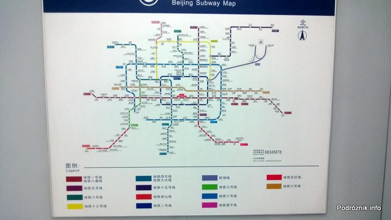 Chiny - Pekin - schemat linii metra - kwiecień 2013