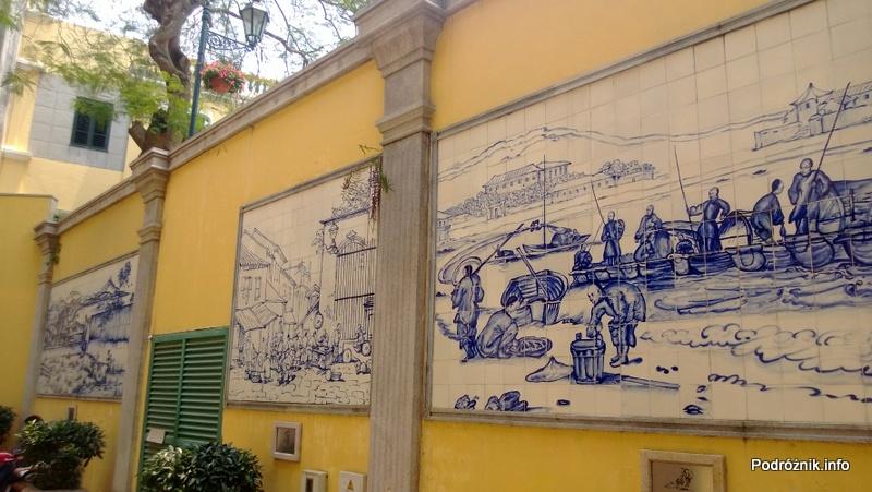 Chiny - Makao - pięknie zdobiona ściana ceramiką w stylu portugalskim - kwiecień 2013
