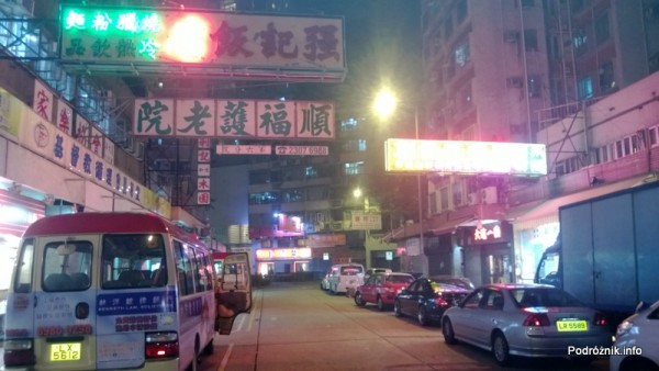 Chiny - Hongkong  - okolice Kings Guest House w nocy - kwiecień 2013