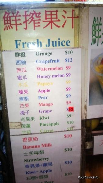 Chiny - Hongkong - cennik świeżych soków - kwiecień 2013