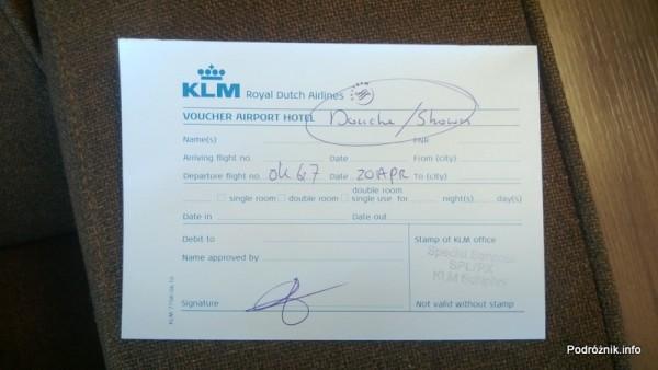 Holandia - Lotnisko w Amsterdamie - Amsterdam Airport Schiphol - KLM Crown Lounge - voucher na prysznic w lotniskowym hotelu - kwiecień 2013