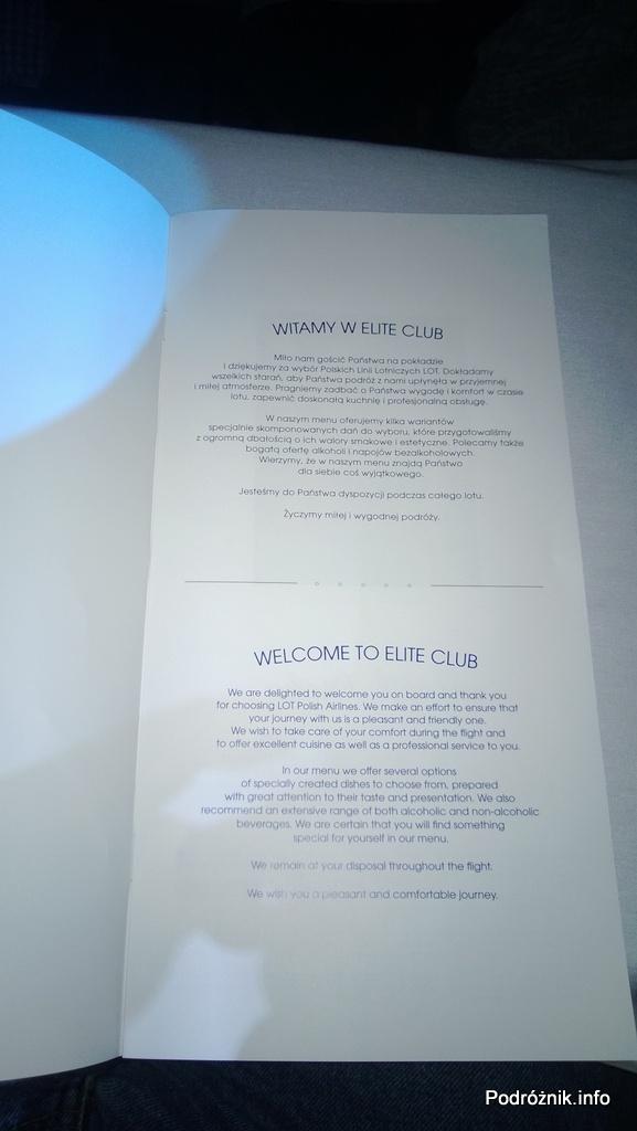 Polskie Linie Lotnicze LOT - Boeing 787 Dreamliner (SP-LRA) - Klasa Biznes (Elite Club) - menu - powitanie w Elite Club - czerwiec 2013