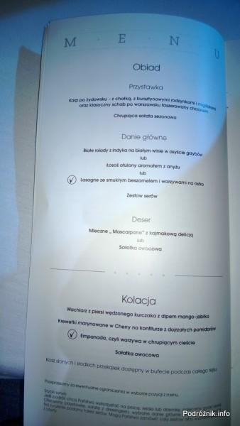 Polskie Linie Lotnicze LOT - Boeing 787 Dreamliner (SP-LRA) - Klasa Biznes (Elite Club) - menu - obiad i kolacja - czerwiec 2013