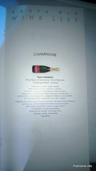 Polskie Linie Lotnicze LOT - Boeing 787 Dreamliner (SP-LRA) - Klasa Biznes (Elite Club) - menu - Champagne - czerwiec 2013