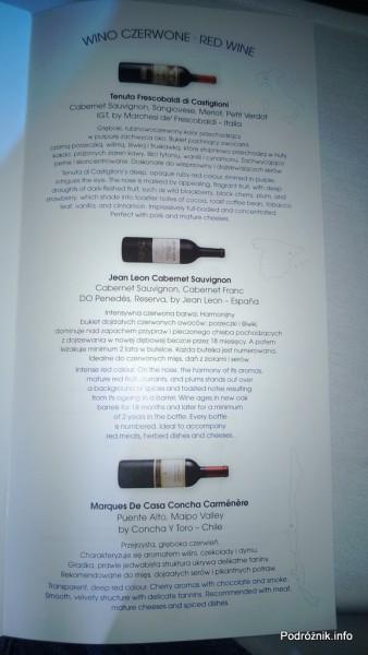 Polskie Linie Lotnicze LOT - Boeing 787 Dreamliner (SP-LRA) - Klasa Biznes (Elite Club) - menu - wina czerwone - czerwiec 2013