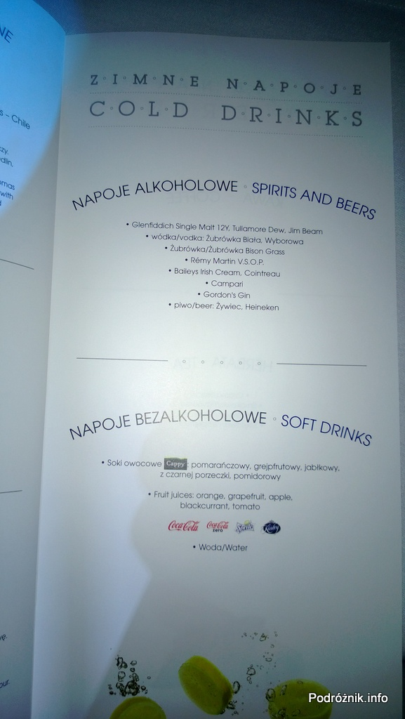 Polskie Linie Lotnicze LOT - Boeing 787 Dreamliner (SP-LRA) - Klasa Biznes (Elite Club) - menu - zimne napoje - alkoholowe i bezalkoholowe - czerwiec 2013