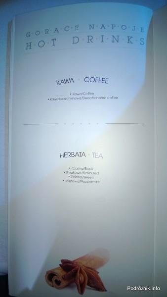 Polskie Linie Lotnicze LOT - Boeing 787 Dreamliner (SP-LRA) - Klasa Biznes (Elite Club) - menu - gorące napoje - kawa i herbata - czerwiec 2013