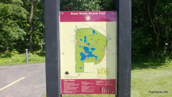 USA - przedmieścia Chicago - Busse Woods - plan tras rowerowych - czerwiec 2013