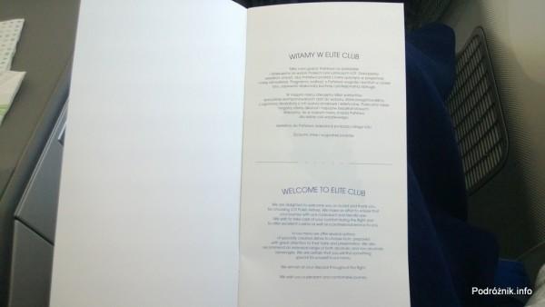 Polskie Linie Lotnicze LOT - Boeing 787 Dreamliner (SP-LRA) - Klasa Biznes (Elite Club) - menu - powitanie - czerwiec 2013