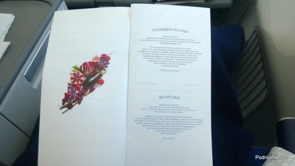 Polskie Linie Lotnicze LOT - Boeing 787 Dreamliner (SP-LRA) - Klasa Biznes (Elite Club) - menu - Podniebna Kuchnia (SKY KITCHEN) - czerwiec 2013
