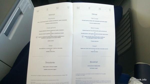 Polskie Linie Lotnicze LOT - Boeing 787 Dreamliner (SP-LRA) - Klasa Biznes (Elite Club) - menu - kolacja i śniadanie - czerwiec 2013
