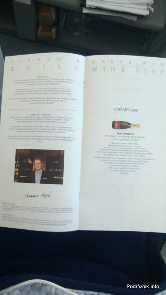 Polskie Linie Lotnicze LOT - Boeing 787 Dreamliner (SP-LRA) - Klasa Biznes (Elite Club) - menu - karta win - sommelier Sławomir Kojło i szampan - czerwiec 2013