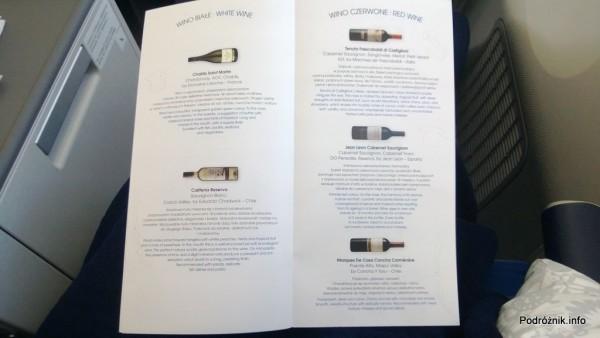 Polskie Linie Lotnicze LOT - Boeing 787 Dreamliner (SP-LRA) - Klasa Biznes (Elite Club) - menu - karta win - wina białe i czerwone - czerwiec 2013