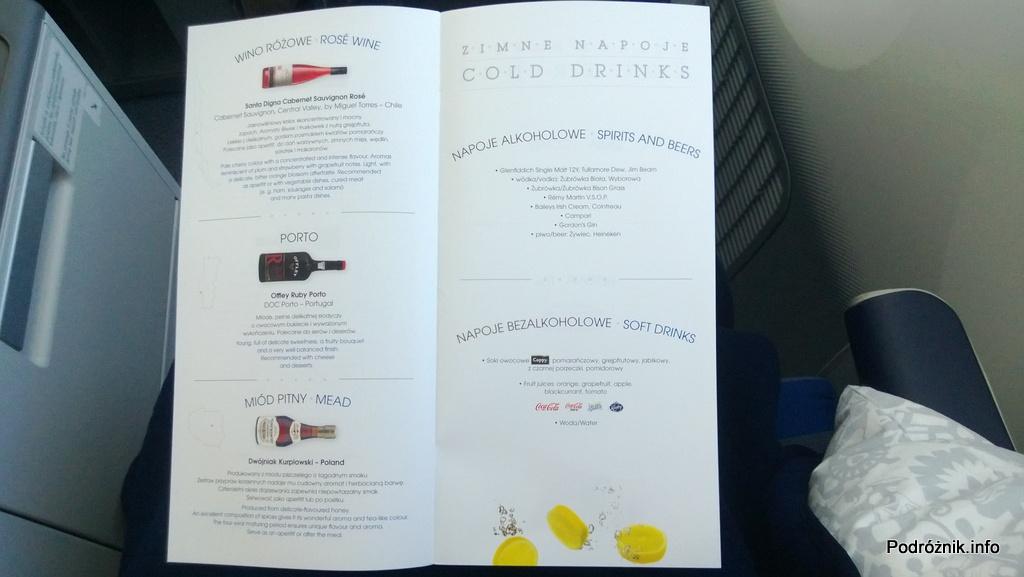 Polskie Linie Lotnicze LOT - Boeing 787 Dreamliner (SP-LRA) - Klasa Biznes (Elite Club) - wino różowe, porto, miód pitny, napoje alkoholowe i bezalkoholowe - czerwiec 2013