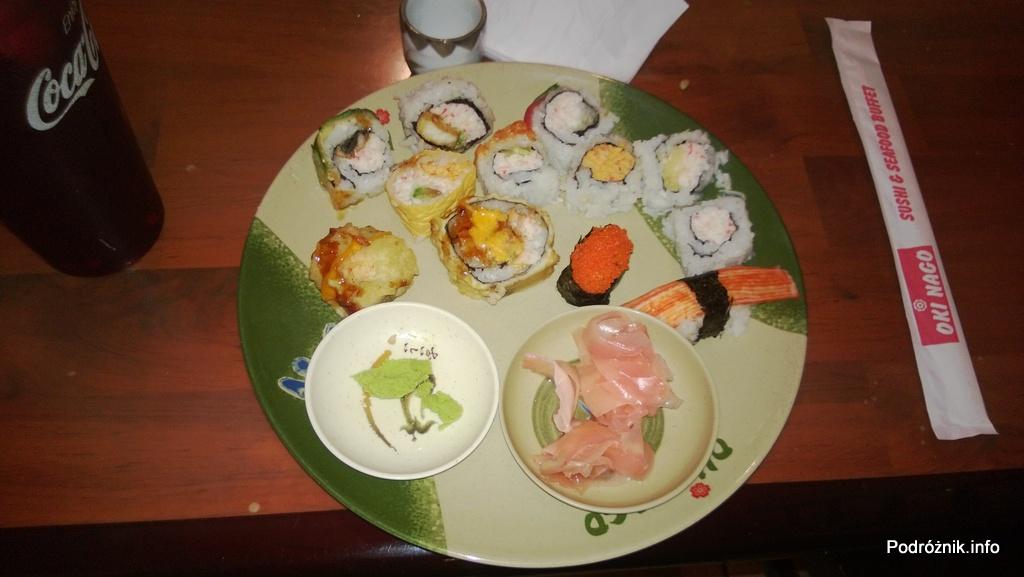 USA - Metairie przedmieścia Nowego Orleanu - Oki Nago Japanese Seafood Buffet - mój talerz sushi- czerwiec 2013