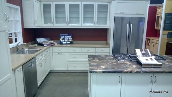USA - amerykańskie meble kuchenne - przykładowa kuchnia w bieli i srebrze - czerwiec 2013