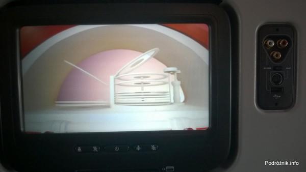Virgin Atlantic (VS) - Airbus A330 - G-VWAG (Miss England) - wnętrze - ekran systemu rozrywki pokładowej - maj 2014