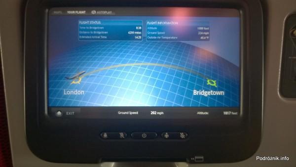 Virgin Atlantic (VS) - Airbus A330 - G-VWAG (Miss England) - wnętrze - ekran z informacjami o locie - maj 2014