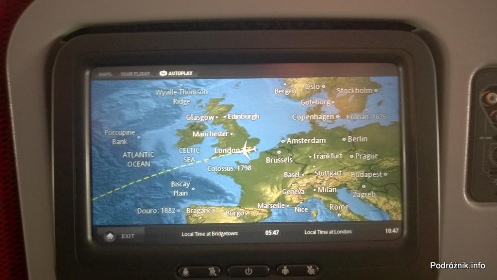 Virgin Atlantic (VS) - Airbus A330 - G-VWAG (Miss England) - wnętrze - ekran z planowaną trasą przelotu w obrębie Europy - maj 2014