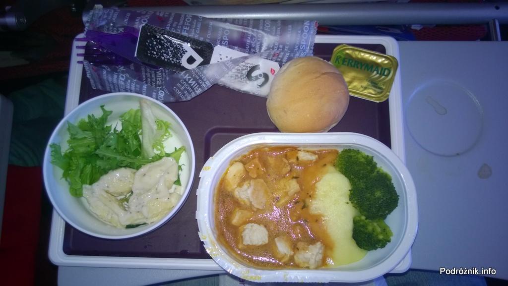 Virgin Atlantic (VS) - Airbus A330 - G-VWAG (Miss England) - kurczak z pure ziemniaczanym i brokułami - maj 2014