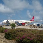 Barbados - Bridgetown - Lotnisko Grantley Adams International Airport (BGI) - Virgin Atlantic (VS) Airbus A330 G-VWAG (Miss England) - maj 2014
