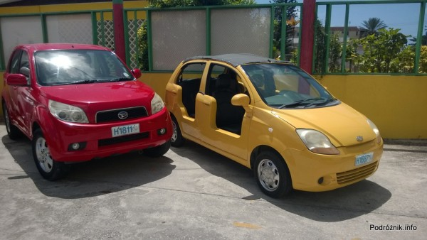 Barbados - wypożyczalnia samochodów - prosty żółty kabriolet - maj 2014