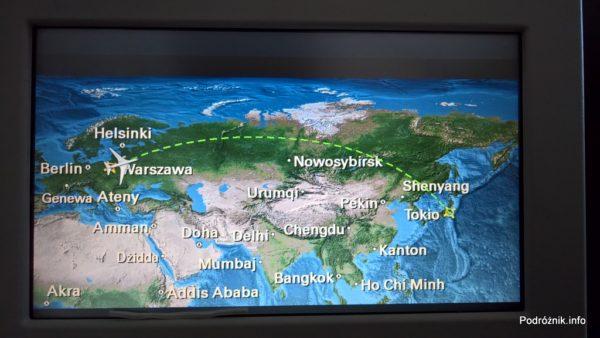 Polskie Linie Lotnicze LOT – Boeing 787 Dreamliner (SP-LRB) – ekran z planowaną trasą przelotu Warszawa Tokio - marzec 2017