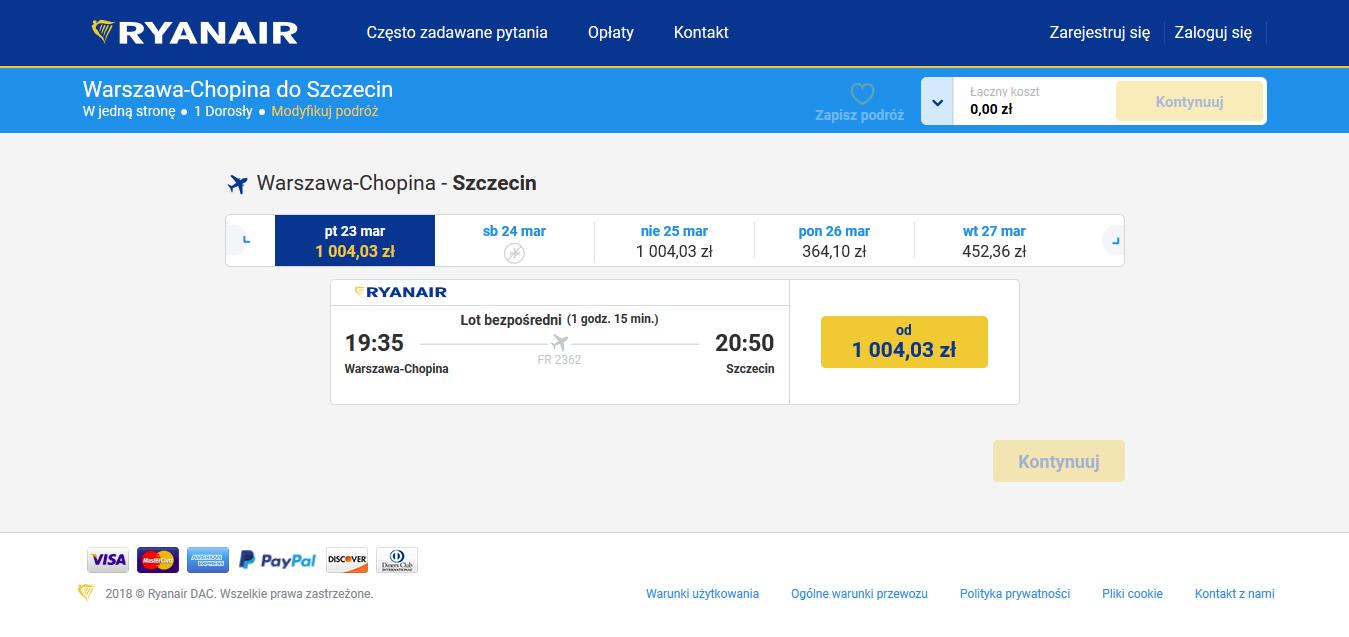 Warszawa - Szczecin - Ryanair - 2018.03.23 - ekstremalnie drogi bilet